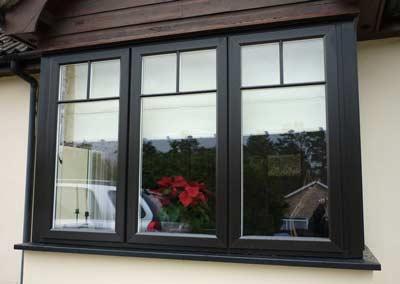 Wood effect uPVC window in black