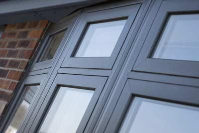 uPVC bow window in grey