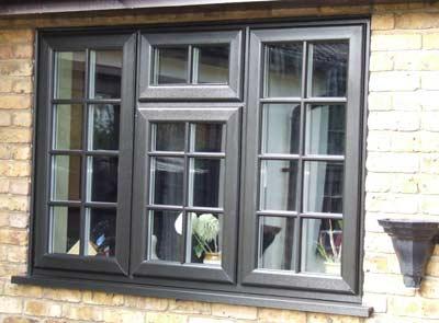 Grey coloured wood effect window