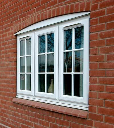 Three panel uPVC casement window
