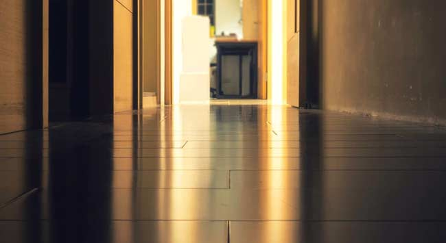 A warm tiled floor with underfloor heating