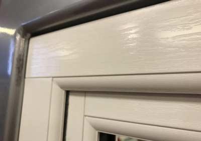 White grain foil on uPVC window